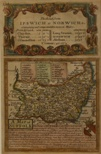 Owen – Bowen, A Map of Suffolk, c1730. Hand coloured. Mounted