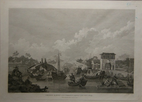 Print of Chinese barges